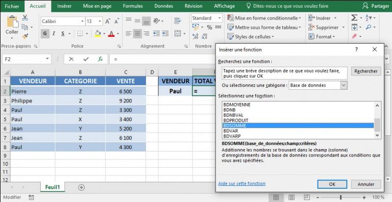 J'ai une base de données nommée base. Je veux connaître le montant des ventes pour le vendeur indiqué en cellule E2. J'utilise le bouton insérer une fonction pour créer la formule de base de données BDSOMME() dans la cellule F2. Comment dois-je remplir la boîte de dialogue arguments de la fonction ?