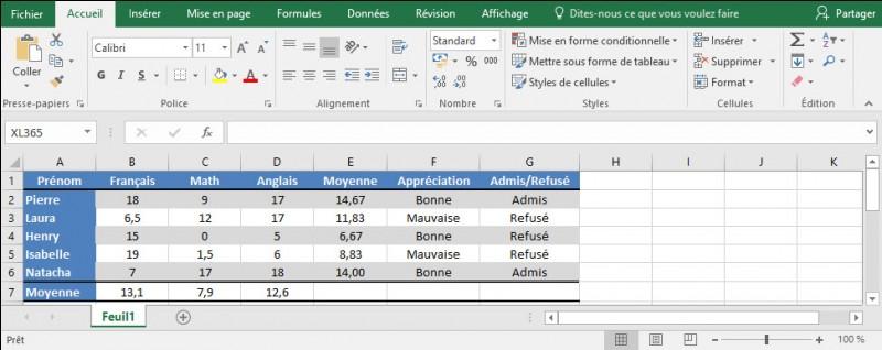 Si la moyenne de l'élève, colonne E, est supérieure à 10 et que l'appréciation de la colonne F est bonne, je dois afficher le texte admis dans la colonne G, sinon refusé.Quelle formule est valide pour la cellule G2 ?