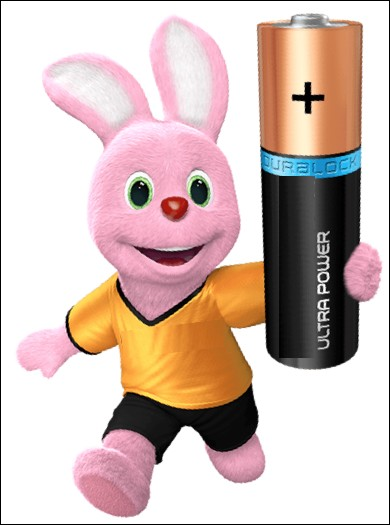 Quelle marque de piles électriques utilise un lapin rose dans ses publicités ?