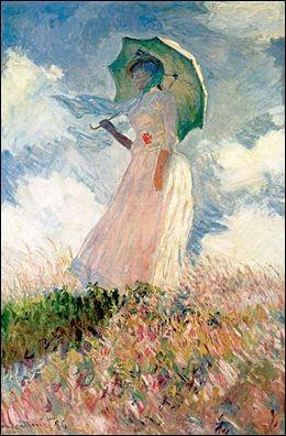 """Quel peintre impressionniste, dont l'épouse était Camille Doncieux, a réalisé la toile """"Femme à l'ombrelle tournée vers la gauche"""", et dont Suzanne Hoschedé fut le modèle ?"""