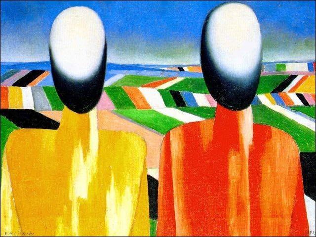 """Ces """"Deux Paysans"""" ont été représentés par un peintre ayant appartenu à un mouvement d'art moderne nommé le suprématisme, qui est-il ?"""