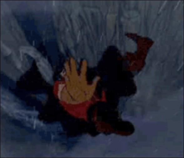 Lors de la chute mortelle de Gaston, avant sa mort, que peut-on voir dans ses yeux ?