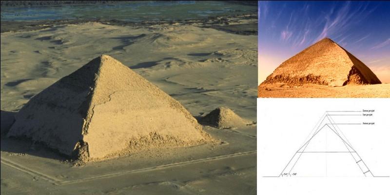Il a fallu plusieurs millénaires pour atteindre la hauteur de 62 mètres (pyramide de Djeser) mais il ne fallu que « peu de temps » pour dépasser les 100 mètres ! Apparemment, cette pyramide aurait atteint 107 mètres à l'origine.Quelle est cette pyramide ?