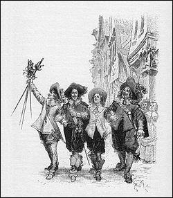 On commence facile : 4 intrépides cavaliers sauvent l'honneur de la reine de France, déjouent les plans d'un 1er ministre et exécutent une espionne malfaisante.