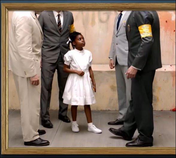 """Si la petite Ruby Bridges avait fait l'école buissonnière, nous n'aurions pas eu ce tableau de Norman ... (1963). Quelle serait l'origine de """"rubis sur l'ongle"""" ?"""