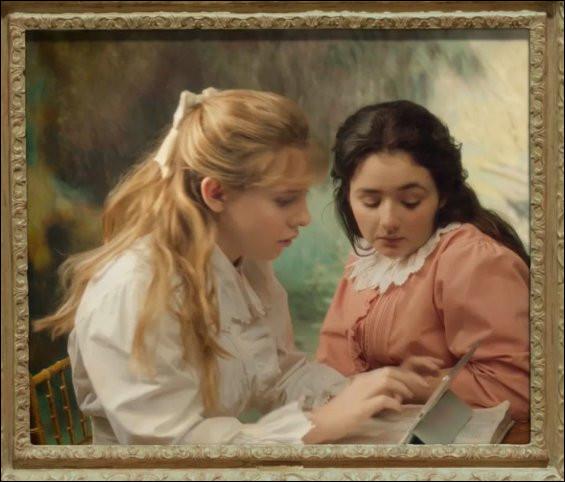 """Excédées, les jeunes filles de """"La Lecture"""" écrivent un courriel à Renoir pour qu'il modernise leur tenue, en premier lieu leur robe à ... (Complétez !). Quelle était leur espérance de vie, vers 1890 ?"""