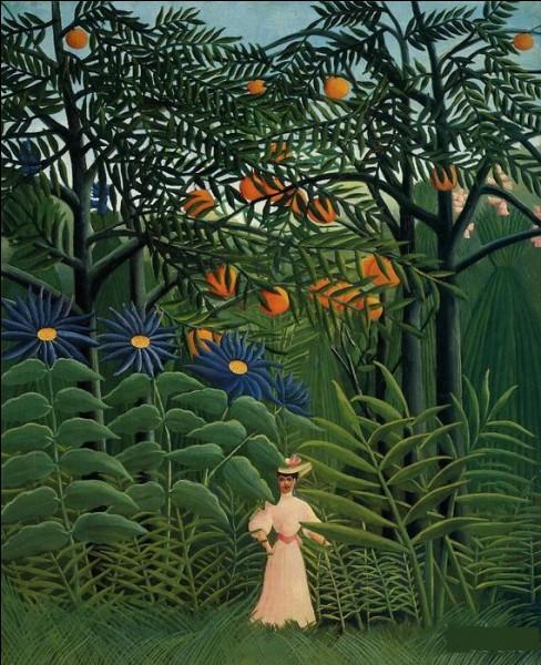 """Qui a peint """"Femme se promenant dans une forêt exotique"""" ?"""