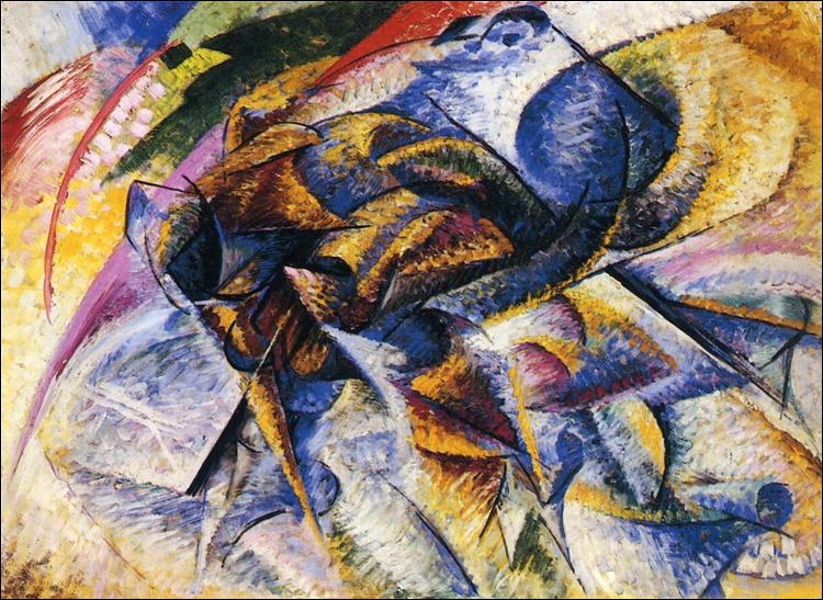 """Par qui a été réalisée cette toile futuriste intitulée """"Dynamisme d'un cycliste"""" ?"""