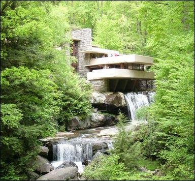 Cette maison originale surplombe une chute d'eau de Pennsylvanie. Quel est son concepteur ?