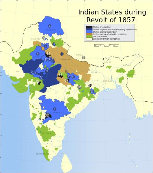 De 1857 à 1858, se déroule en Inde