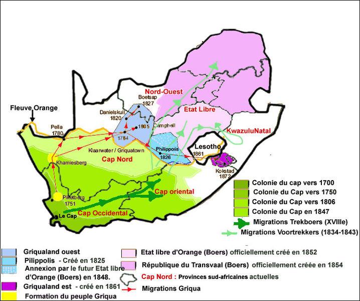 A l'issue des guerres contre la France révolutionnaire et napoléonienne (1792-1815), le Congrès de Vienne de 1814-1815 reconnaît au Royaume-Uni un territoire sud-africain. Il s'agit de