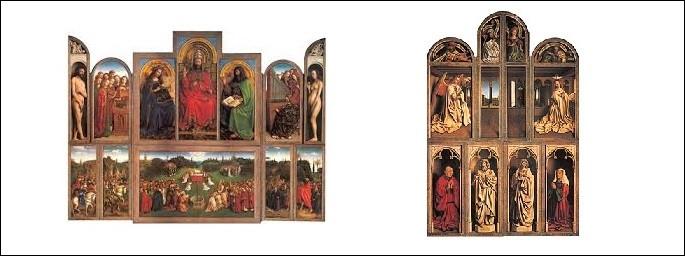 Art - Quelle est la particularité de L'Adoration de l'Agneau mystique, un chef-d'oeuvre de la peinture des primitifs flamands ?