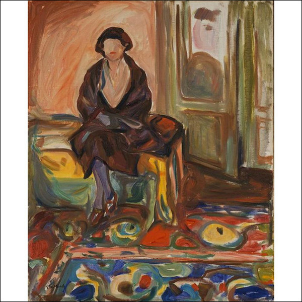"""Sa toile s'intitule """"Assise sur le divan"""" :"""