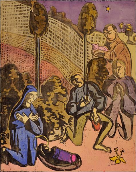 """Quel artiste ayant fait partie de l'école de Pont-Aven, finit par se brouiller avec Gauguin, et dont on voit ici une gravure sur bois représentant """"L'adoration des bergers"""" ?"""