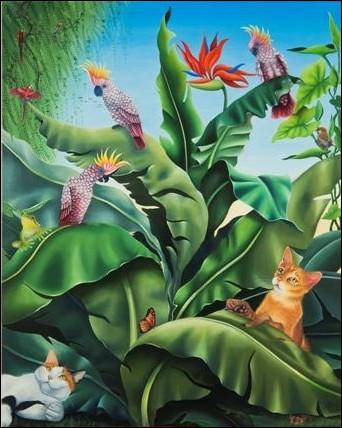 Le peintre des chats n'a pas pu résister à en insérer un sur son magnifique tableau !
