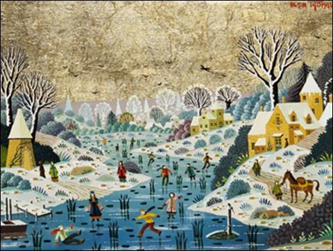 """Qui a peint """"Lac gelé aux patineurs"""" ?"""
