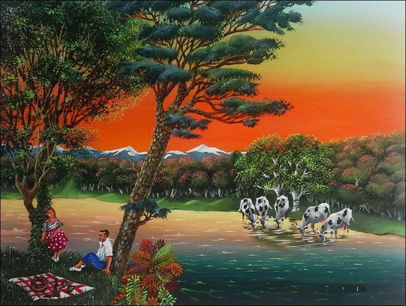 """Qui a peint """"Les Amoureux du lac Montbel"""" ?"""