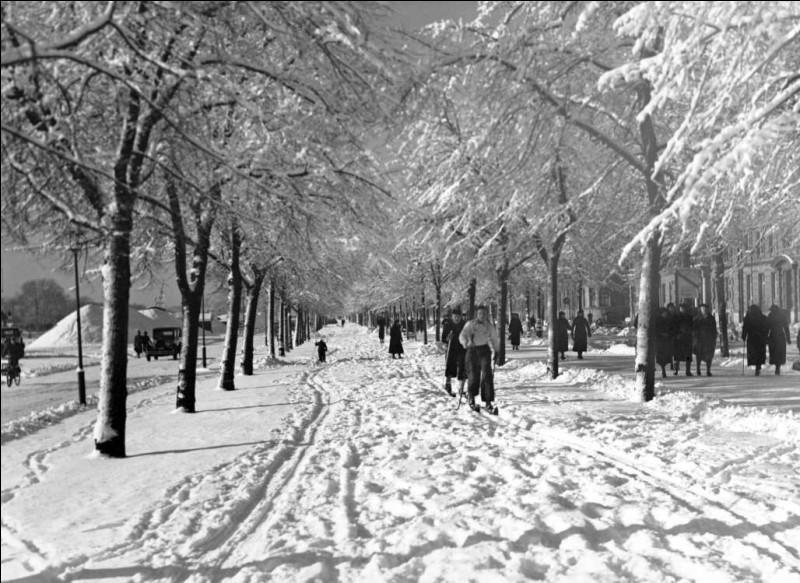 Quel beau jour de février 37, une superbe journée ensoleillée, il y a eu une belle bordée et les jeunes skient dans les rues en ville : la texture de la neige est idéale aux traces. On voit que ce sont des habitués, ils sont solides sur leurs skis, même le petit bambin à gauche. Il y a en même un, à l'extrême gauche, qui comme moi, roule en vélo l'hiver.Situez de quelle ville ces nordiques sont.