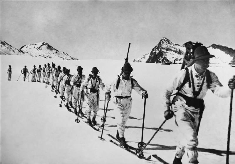 La légende qui accompagne la photo précise qu'il s'agit de l'armée en manoeuvre dans la neige : ces troupes eurent beau se préparer, elles n'avaient pas l'avantage géographique.Où ces troupes s'entraînent-elles, équipées de leurs lunettes rondes d'alpiniste et de leur chapeau tyrolien ?