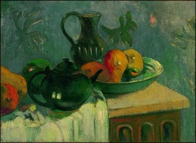 """Qui a réalisé la toile """"Théière, cruche et fruits"""" ?"""