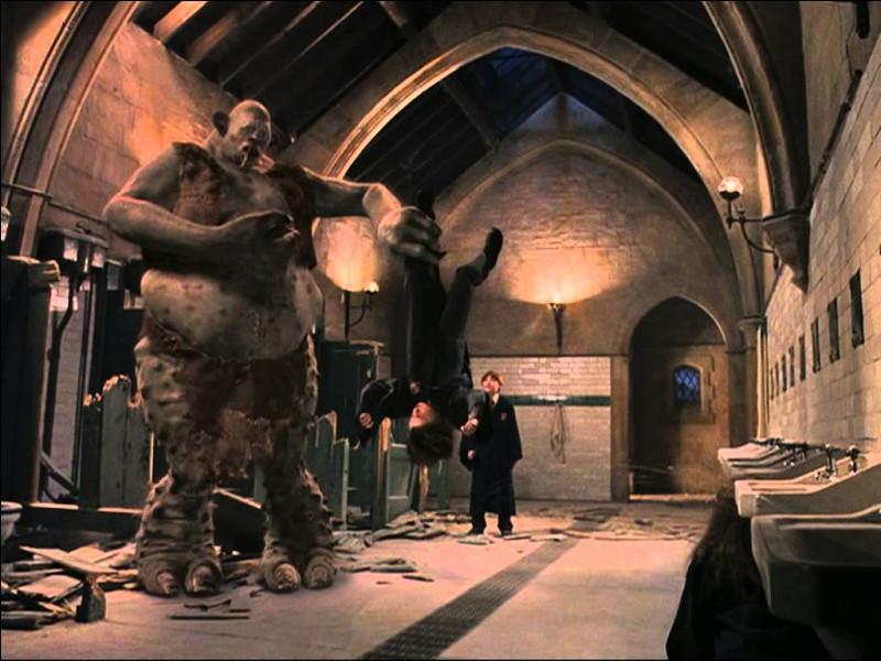 Que fait Harry avec le grand troll dans les toilettes des filles pour sauver Hermione ?