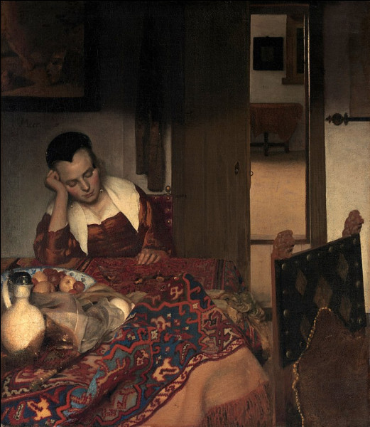"""Quel peintre hollandais du XVIIe a réalisé le tableau """"Jeune femme assoupie"""" ?"""