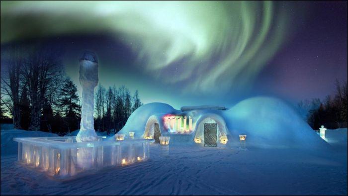 Pour ne rien manquer, les chambres sont munies d'une « alarme d'aurore boréale » commune en cette région de ciel étoilé. Vous dormirez sous la neige dans des conditions totalement arctiques mais à votre éveil (?), un chaud repas délicieux vous attendra au Log Restaurant. Quel cet cet endroit vraiment unique où l'on vous garantit la température de votre chambre d'hôtel entre 0 et -5ºC ?