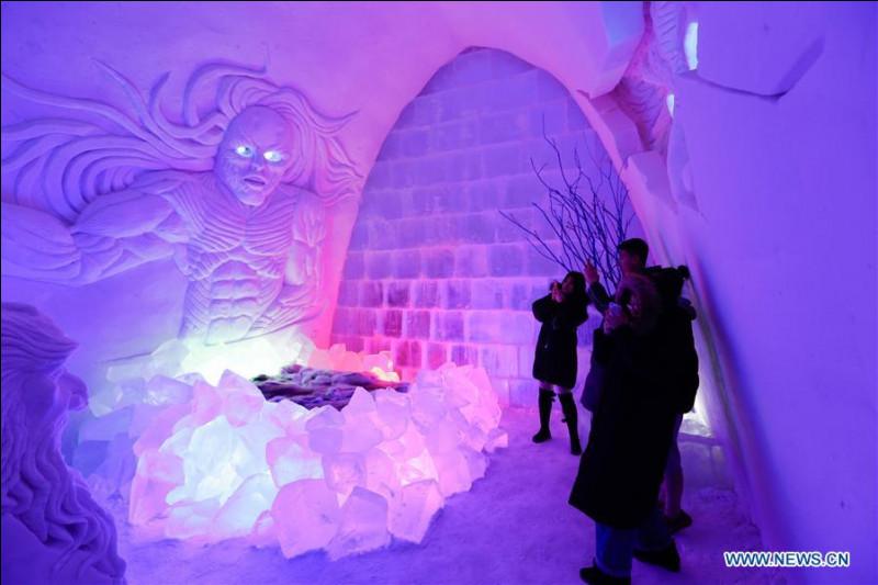 Vraiment effrayant, n'est-ce pas ? Cet hôtel, situé dans la plus grande ville du Nord de cette région autonome, a été construit avec pas moins de 8 000 tonnes de glace et de neige. Aucun doute, il attire de nombreux touristes et un majestueux hôtel conventionnel se trouve juste à côté, des fois où...Il vous faut situer l'hôtel.