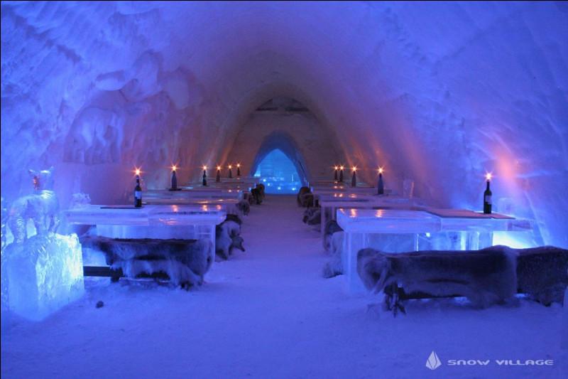 Il est renommé pour son univers féerique glacé de 20000 m² : pour notre émerveillement, le mobilier et les reliefs sculptés se combinent avec des jeux de lumière. 30 chambres sont décorées du sol au plafond avec des sculptures de glace, c'est là son attrait.Trouvez le village d'igloo où l'on vous offre un sauna accessible toute la nuit et un 2e restaurant toujours ouvert et agréablement chauffé.