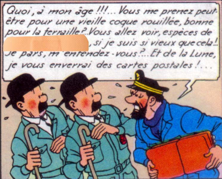 Alors qu'ils sont habillés correctement - pour une fois - les Dupondt se voient copieusement enguirlandés par le capitaine Haddock. De quoi les traite-t-il ?
