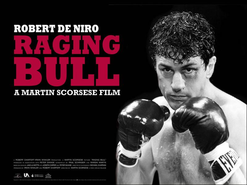 """Le film de Martin Scorcese """"Ragging Bull"""" retrace la vie d'un boxeur incarné par Robert De Niro :"""