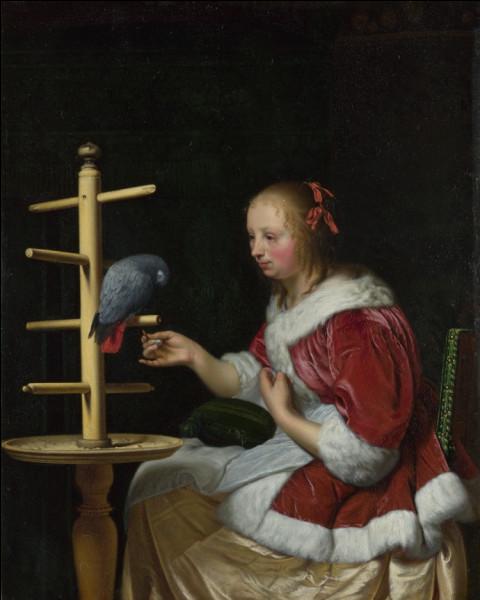 """Quel peintre hollandais du XVIIe a réalisé le tableau """"Femme en veste rouge avec perroquet"""" ?"""
