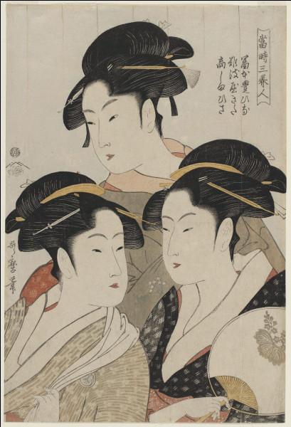 """Qui est l'auteur de l'estampe japonaise """"Trois beautés de notre temps"""" ?"""
