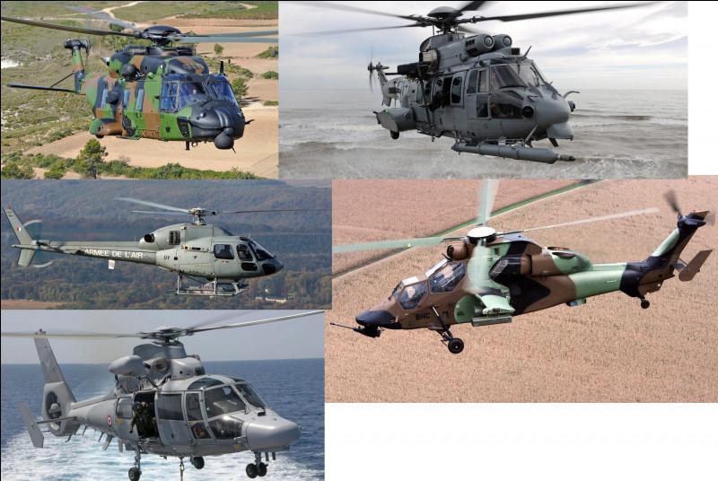 Citez les hélicoptères militaires présents sur l'image :
