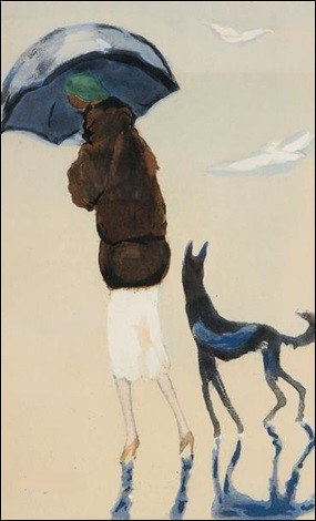 """Qui a peint """"Femme au parapluie avec un chien sur la plage"""" ?"""