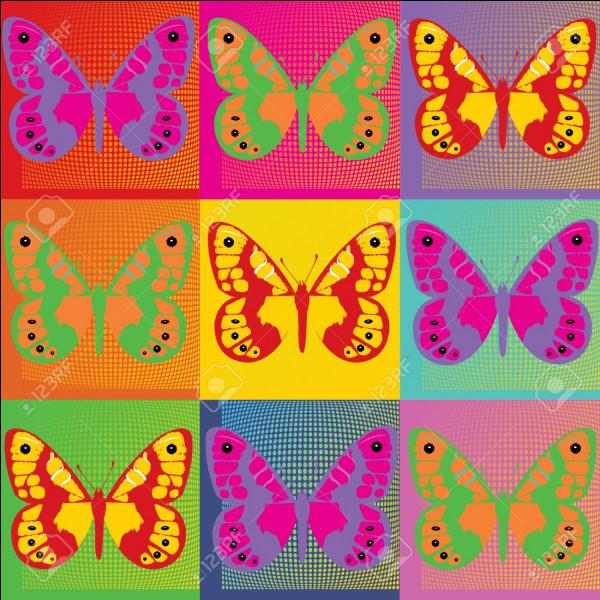 Quel artiste du pop art a réalisé cet ensemble de papillons colorés ?