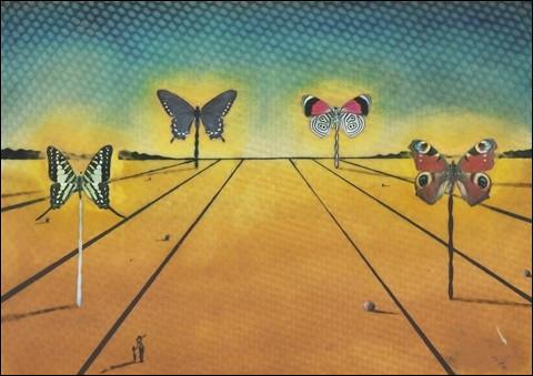 """Qui est le peintre de ce """"Paysage aux papillons"""" ?"""