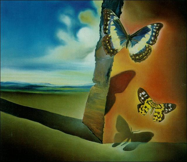 Qui est l'auteur de ce paysage avec papillons ?