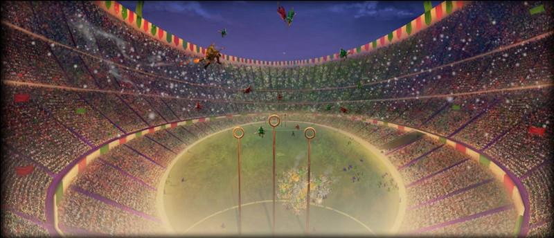 Dans le n°4, en quelle compagnie, Drago passe-t-il le match de la coupe du monde de quidditch ?