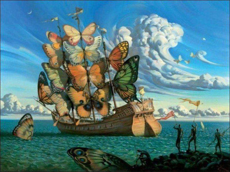 """Quel peintre surréaliste est l'auteur du tableau """"Le Bateau à voile papillon"""" ?"""