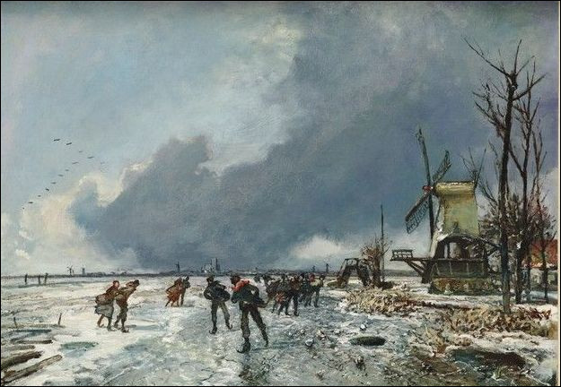 """Qui a peint """"Vue hivernale avec patineurs"""" ?"""