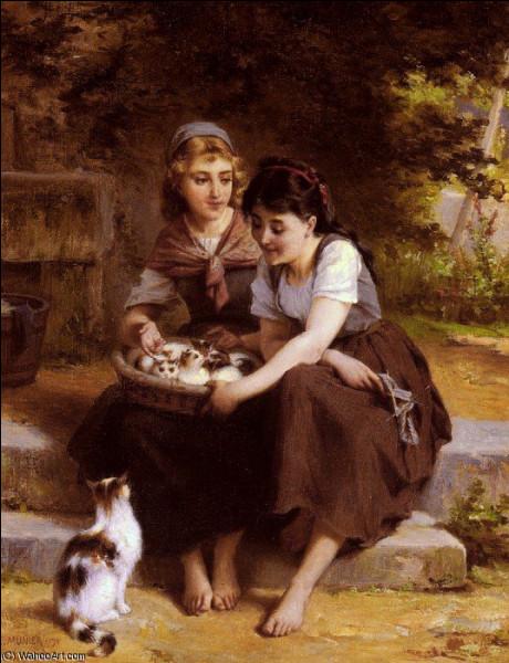 """Qui a représenté """"Deux filles avec un panier de chatons"""" ?"""