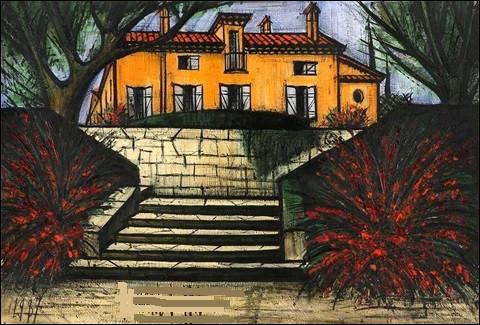 """Qui est le peintre de la toile intitulée """"La Baume, l'escalier"""" ?"""