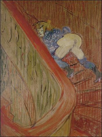 """Sa toile se nomme """"Dans les escaliers de la rue des moulins"""" :"""