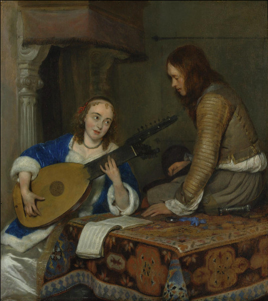 """Quel peintre hollandais du XVIIe a réalisé le tableau """"Femme jouant du luth"""" ?"""