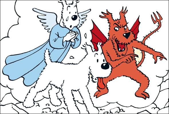 """Dans """"Tintin au Tibet"""", On a confié une tâche importante à Milou, il s'agit de porter un message. Pour quelle raison Milou n'honorera-t-il pas la confiance qu'on lui a attribué, partagé entre sa bonne conscience, et son démon ?"""
