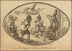 À qui s'adresse le Manifeste de Brunswick en 1792 ?