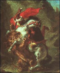 "Qui a peint ""Cavalier arabe attaqué par un lion"" ?"