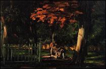 """Qui a peint """"Le Lion et le bassin au Jas de Bouffan"""" ?"""