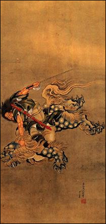 "Qui a peint ""Shoki chevauchant un lion shishi"" ?"